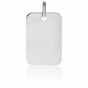 Pendentif Plaque Rectangulaire Or Blanc 18K