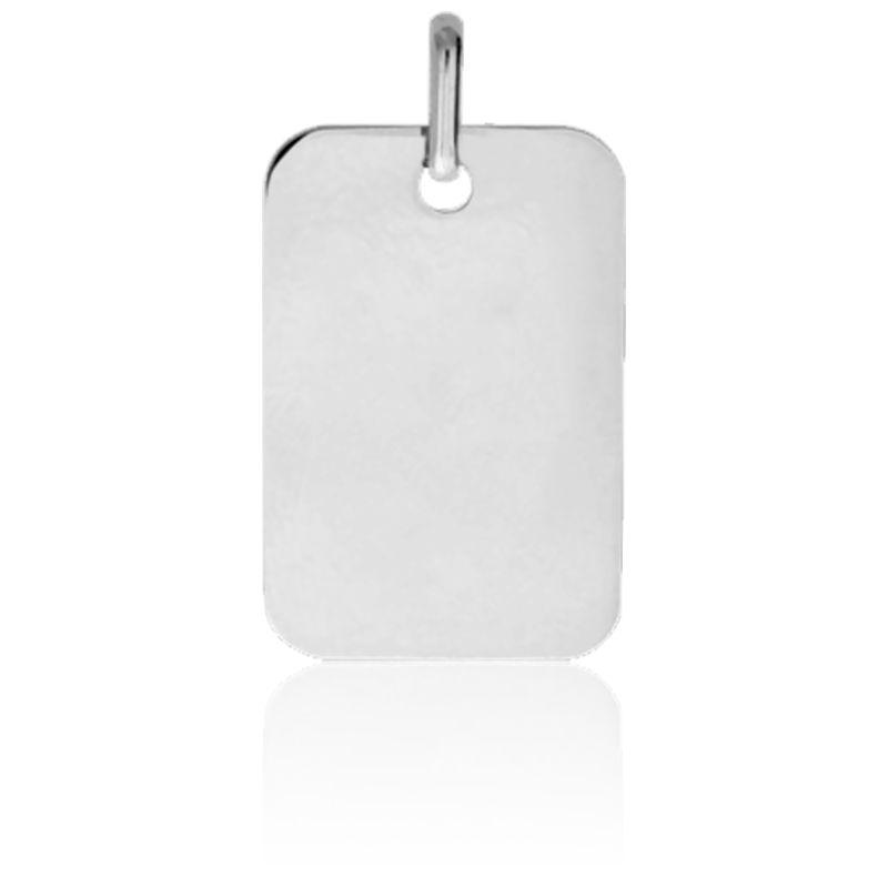Pendentif Plaque Rectangulaire Or Blanc