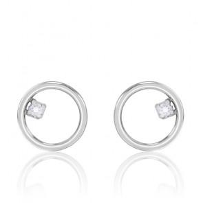 Boucles d'oreilles cercle fil rond, diamant et or blanc 9K