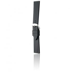 Bracelet Bonetto 314 Noir / Silver - Caoutchouc - Entrecorne 22 mm