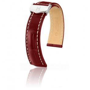 Bracelet Navigator Rouge Bordeaux Mat / Silver - Entrecorne 24 mm - Chute 20 mm