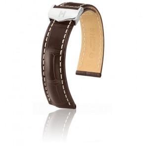 Bracelet Navigator Brun Foncé Mat / Silver - Entrecorne 22 mm - Chute 18 mm