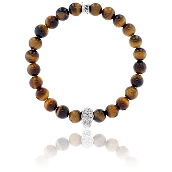 En stock Bracelet Oeil de Tigre \u0026 Crâne Argenté