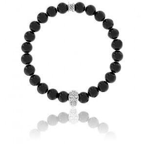 Bracelet Agate Noire & Crâne Argenté