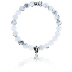 Bracelet Howlite Blanc & Crâne Argenté