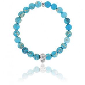 Bracelet Jaspe de Mer Turquoise & Crâne Argenté