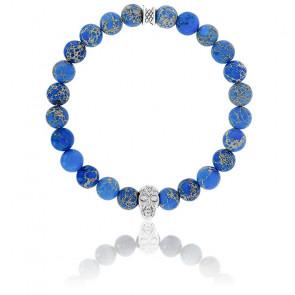 Bracelet Jaspe de Mer Bleu Foncé & Crâne Argenté