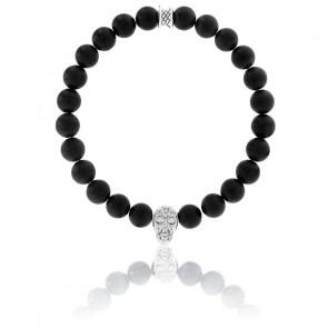 Bracelet Onyx Noire Mate & Crâne Argenté