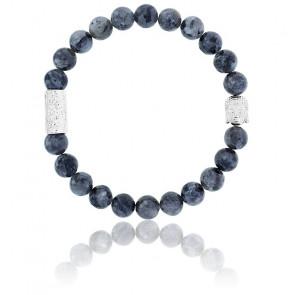 Bracelet Larvikite Grise & Buddha Argenté