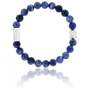 Bracelet Sodalite Africaine & Buddha Argenté