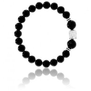 Bracelet Agate Noire & Buddha Argenté