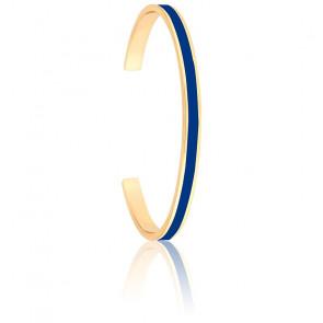 Bracelet Jonc Bangle Bleu Faïence Plaqué Or Jaune