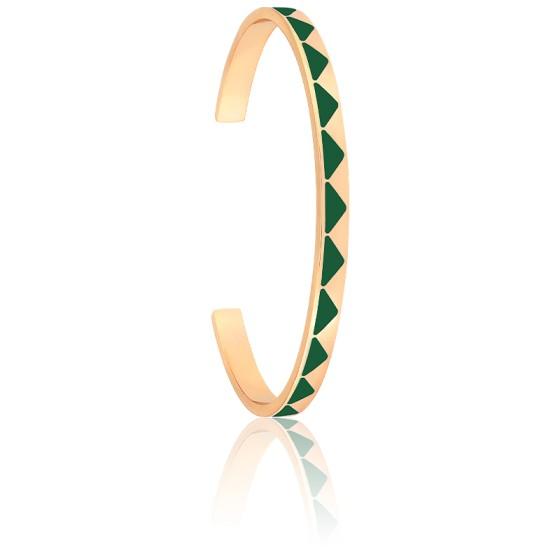 Bracelet Jonc Bollystud Vert Emeraude Plaqué Or Jaune