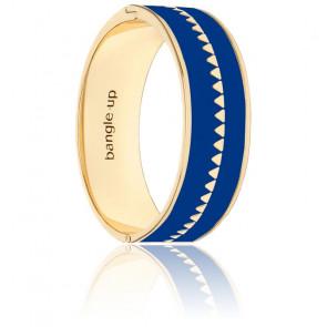 Bracelet Bollystud Ornementé Bleu Faïence Plaqué Or Jaune