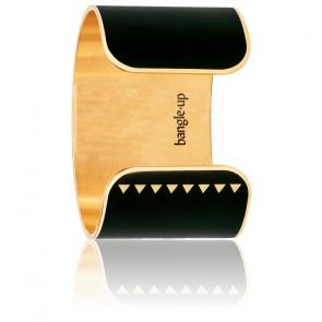 Bracelet Manchette Bollystud Noir Plaqué Or Jaune