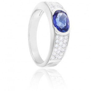 Bague Chiara Saphir, Diamants & Or Blanc 18K