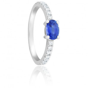 Bague Laetitia Saphir, Diamants & Or Blanc 18K