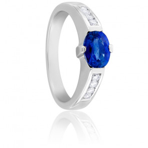 Bague Carolina Saphir, Diamants & Or Blanc 18K