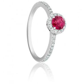 Bague Soleilka Tourmaline Rose Foncé, Diamants & Or Blanc 18K