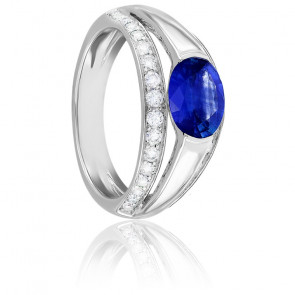 Bague Leila Saphir, Diamants & Or Blanc 18K