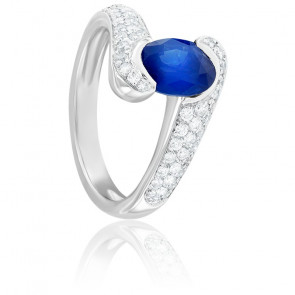 Bague Anastasia Saphir, Diamants & Or Blanc 18K