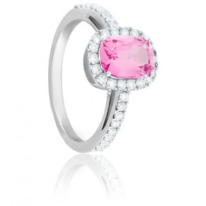 Bague Isabella Saphir Rose, Diamants & Or Blanc 18K
