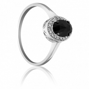 Bague Dark Oval, Diamant Noir 0.60 ct & Or Blanc 18K