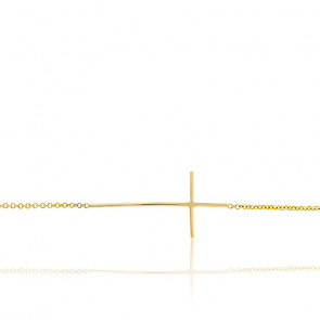 Bracelet Croix Fine Or Jaune 9K