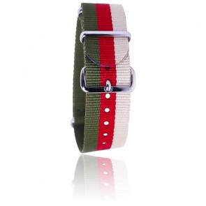 Bracelet Nato Kaki/rouge/beige