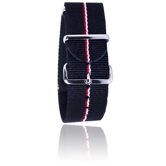 Bracelet Noir/liserets rouge/blanc