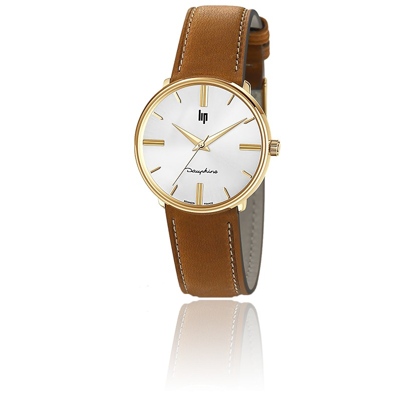 Dauphine 34 mm Gold/Brown Leather 671914
