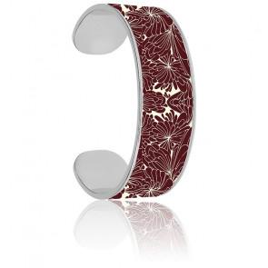 Bracelet Jonc Cancan Blanc Sable & Rouge Bordeaux Plaqué Argent