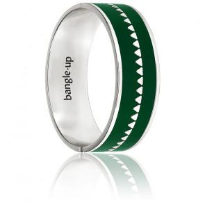 Bracelet Bollystud Ornementé Vert Emeraude Plaqué Argent