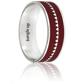 Bracelet Bollystud Ornementé Rouge Bordeaux Plaqué Argent