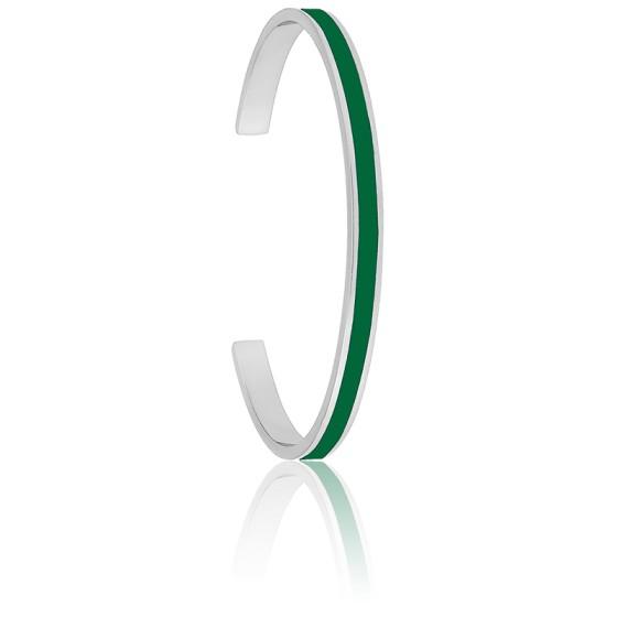 Bracelet Jonc Bangle Vert Emeraude Plaqué Argent