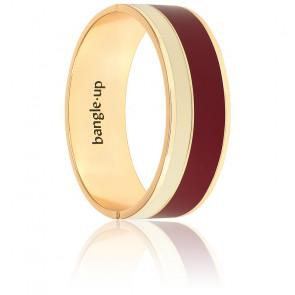 Bracelet Vaporetto Blanc Sable & Rouge Bordeaux Plaqué Or Jaune