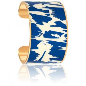 Bracelet Manchette Joy Blanc Sable & Bleu Faïence Plaqué Or Jaune