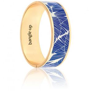 Bracelet Joy Blanc Sable & Bleu Faïence Plaqué Or Jaune