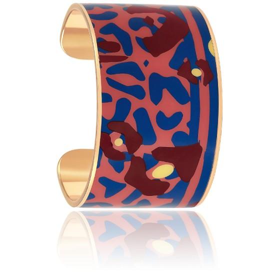Bracelet Manchette Félin du Bengale Rose Blush & Bleu Plaqué Or Jaune