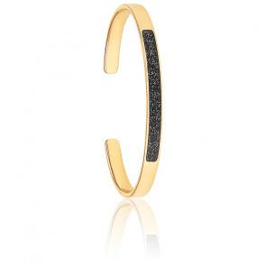 Bracelet Jonc Lune Noir Paillettes Or Light Plaqué Or Jaune