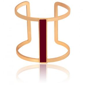 Bracelet Manchette Lune Rouge Bordeaux Plaqué Or Jaune