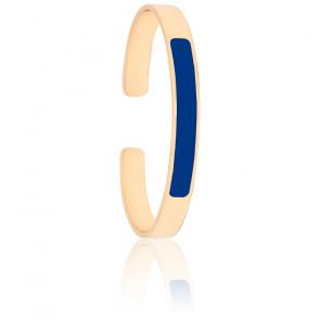 Bracelet Jonc Lune Bleu Faïence Plaqué Or Jaune