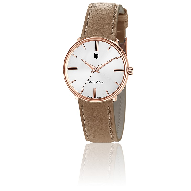 Dauphine 34 mm Rose Gold/Silver Beige Leather 671916