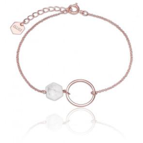 Bracelet Idylle Anneau Turquoise Blanche & Plaqué Or Rose 18K