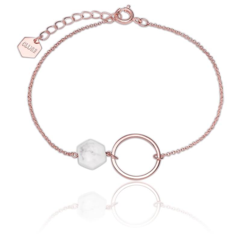 Cluse Bijoux. Bracelet Idylle Anneau Turquoise Blanche \u0026 Plaqué Or Rose 18K