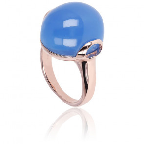Bague Alba Cabochon Grande Calcédoine Bleue Plaqué Or Rose 18K