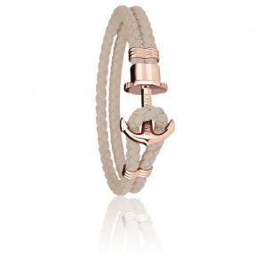 Bracelet Ancre PHREP Acier PVD Or Rose, Cuir Hazelnut