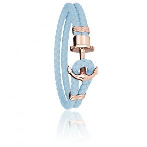 Bracelet Ancre PHREP Acier PVD Or Rose, Cuir Niagara