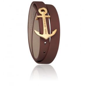 Bracelet Enroulé North Bound Acier PVD Or Jaune, Cuir Marron