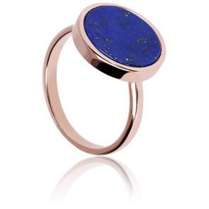 Bague Alba Disque Lapis Lazuli Bleu & Plaqué Or Rose 18K
